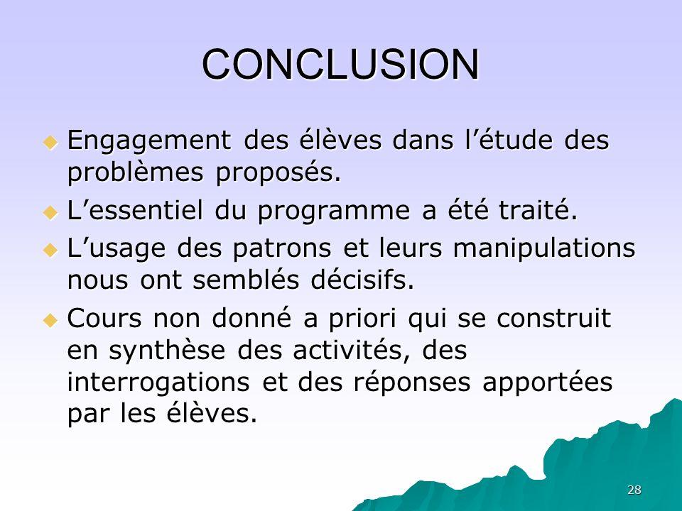 CONCLUSION Engagement des élèves dans l'étude des problèmes proposés.