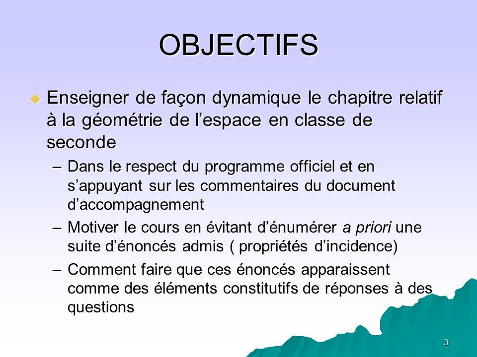 OBJECTIFS Enseigner de façon dynamique le chapitre relatif à la géométrie de l'espace en classe de seconde.