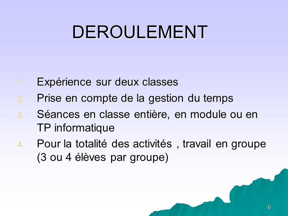 DEROULEMENT Expérience sur deux classes