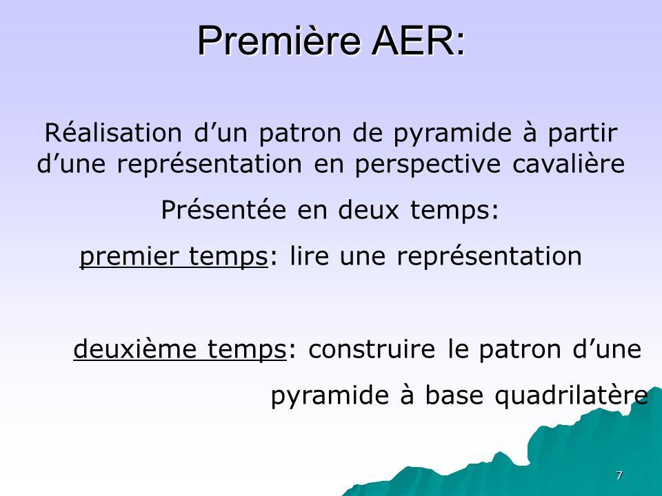 Première AER: Réalisation d'un patron de pyramide à partir d'une représentation en perspective cavalière.