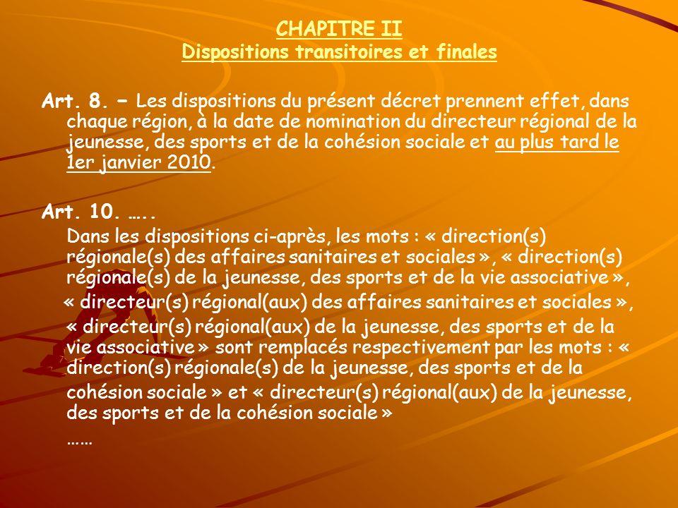 CHAPITRE II Dispositions transitoires et finales