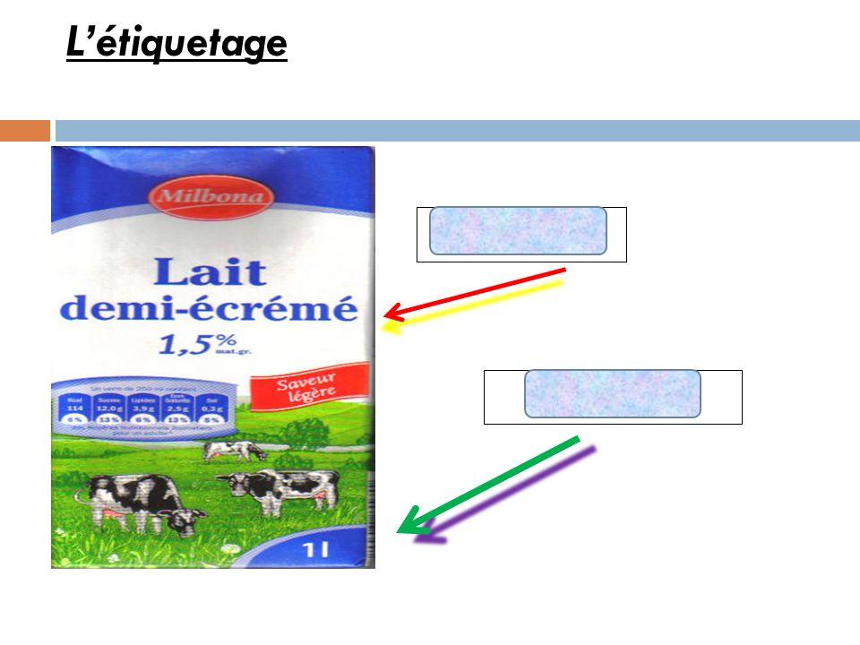 L'étiquetage TYPE DE LAIT VOLUME