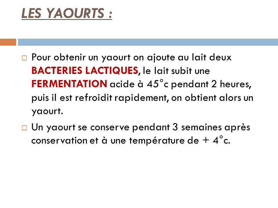 LES YAOURTS :