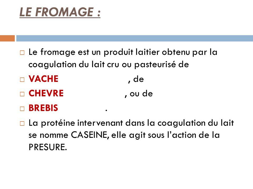 LE FROMAGE :Le fromage est un produit laitier obtenu par la coagulation du lait cru ou pasteurisé de.
