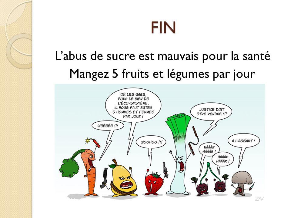 FIN L'abus de sucre est mauvais pour la santé Mangez 5 fruits et légumes par jour