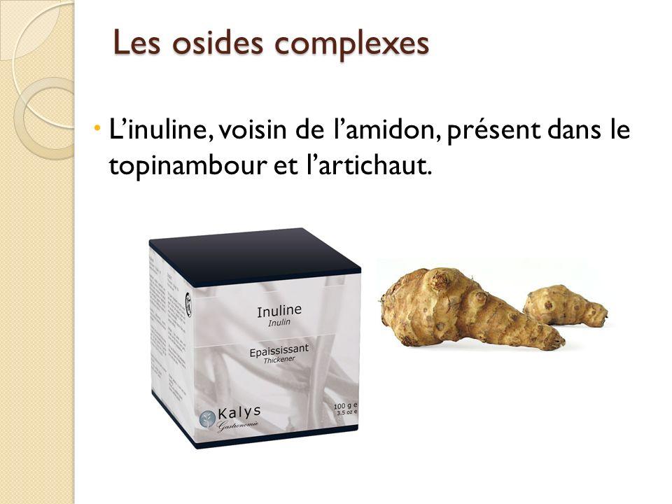 Les osides complexes L'inuline, voisin de l'amidon, présent dans le topinambour et l'artichaut.