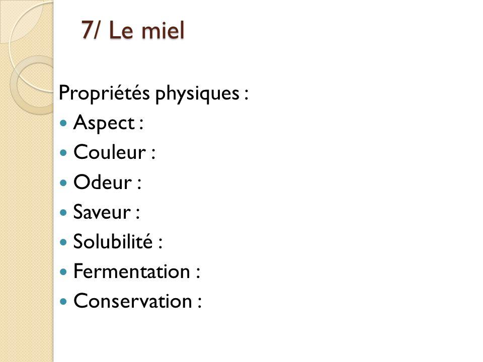 7/ Le miel Propriétés physiques : Aspect : Couleur : Odeur : Saveur :