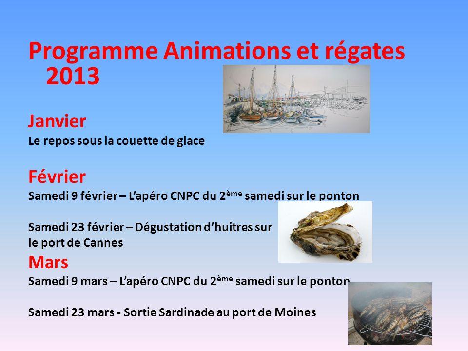 Programme Animations et régates 2013