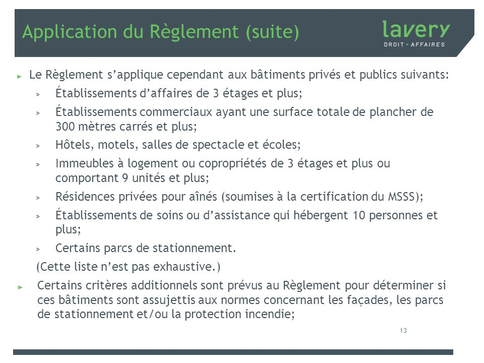 Application du Règlement (suite)