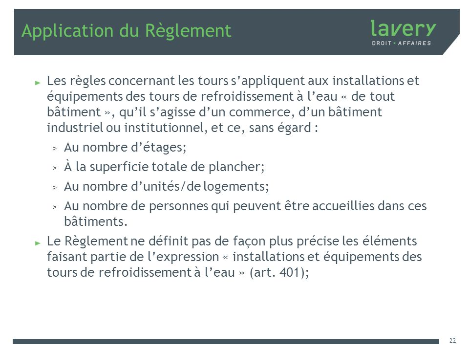 Application du Règlement