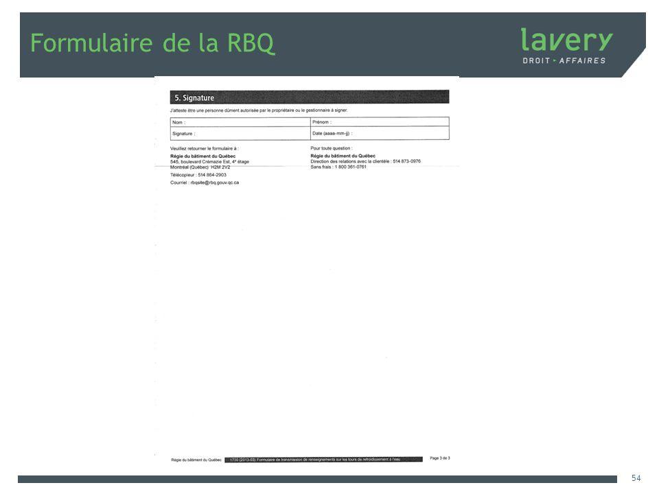 Formulaire de la RBQ