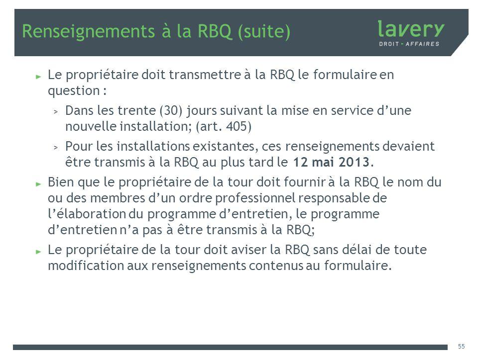 Renseignements à la RBQ (suite)
