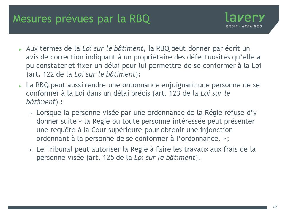 Mesures prévues par la RBQ