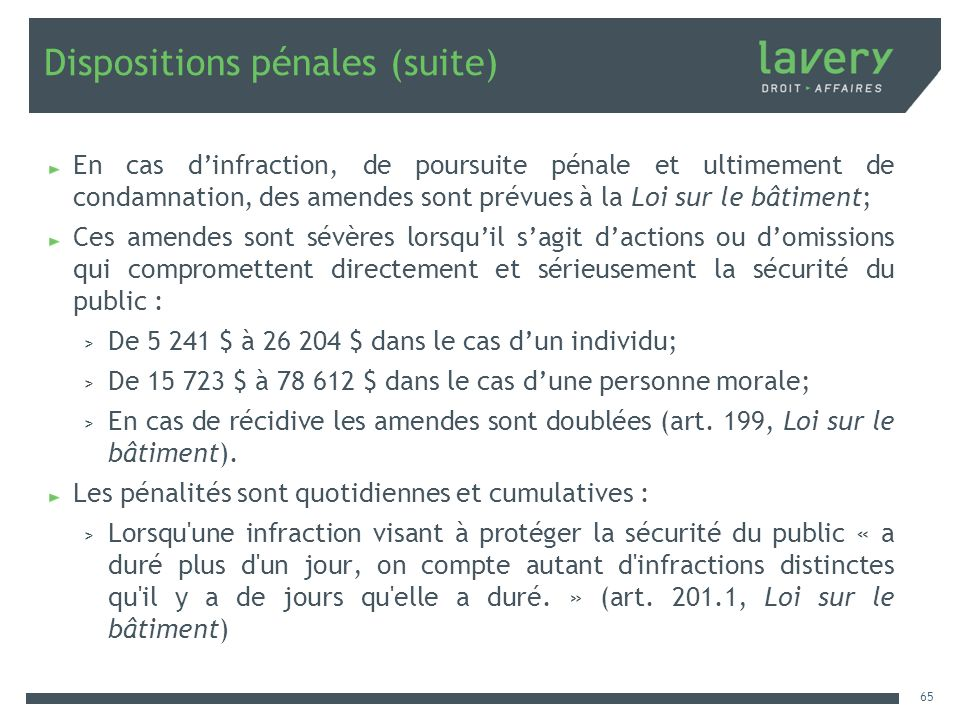 Dispositions pénales (suite)