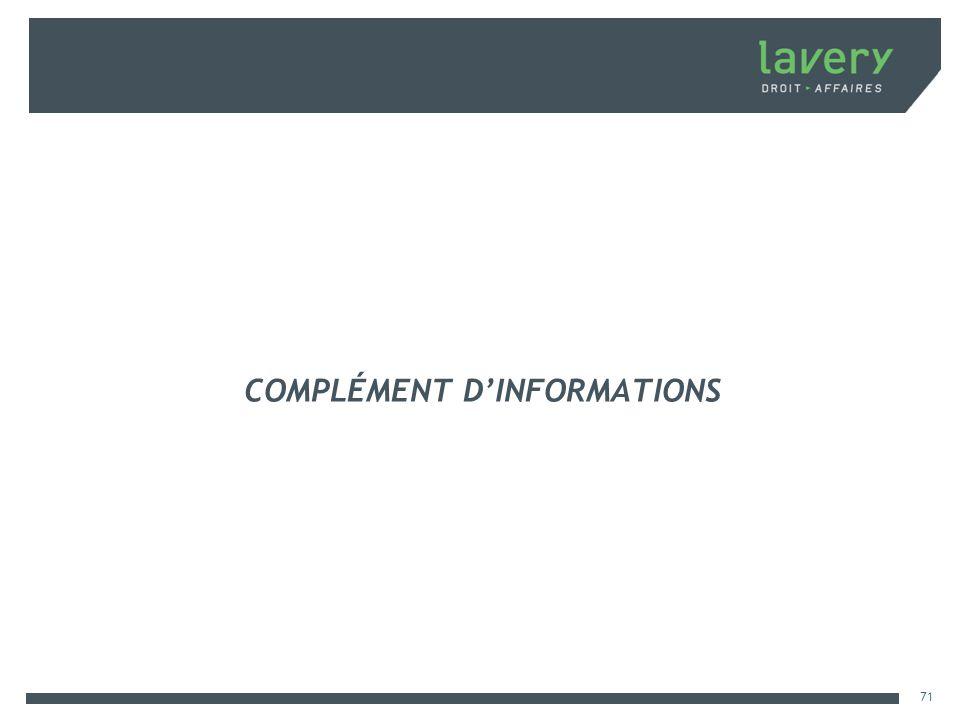 COMPLÉMENT D'INFORMATIONS