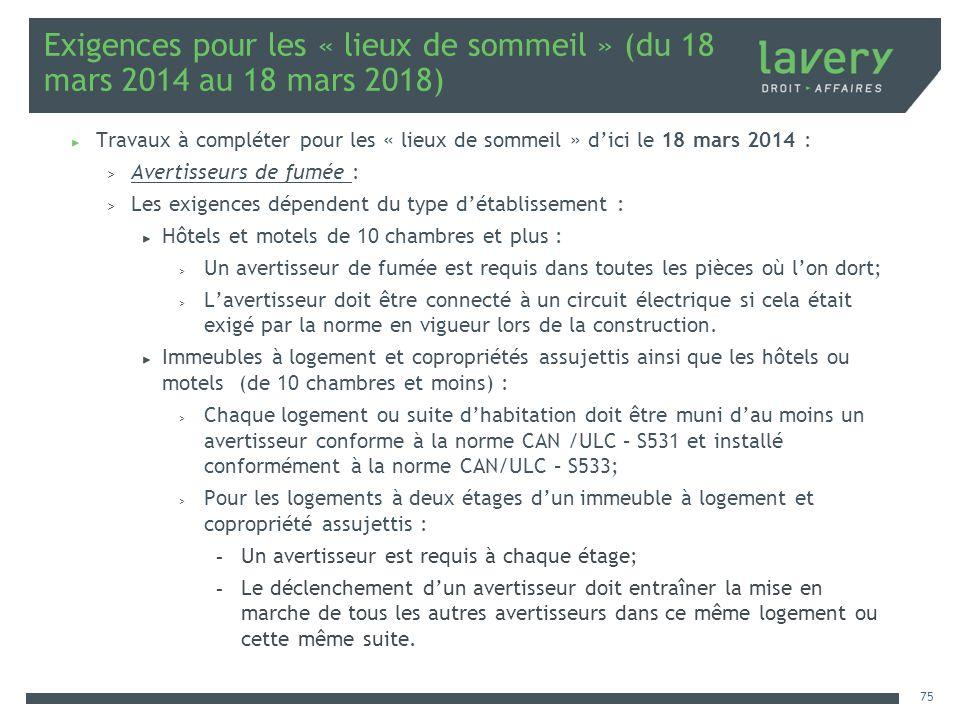 Exigences pour les « lieux de sommeil » (du 18 mars 2014 au 18 mars 2018)