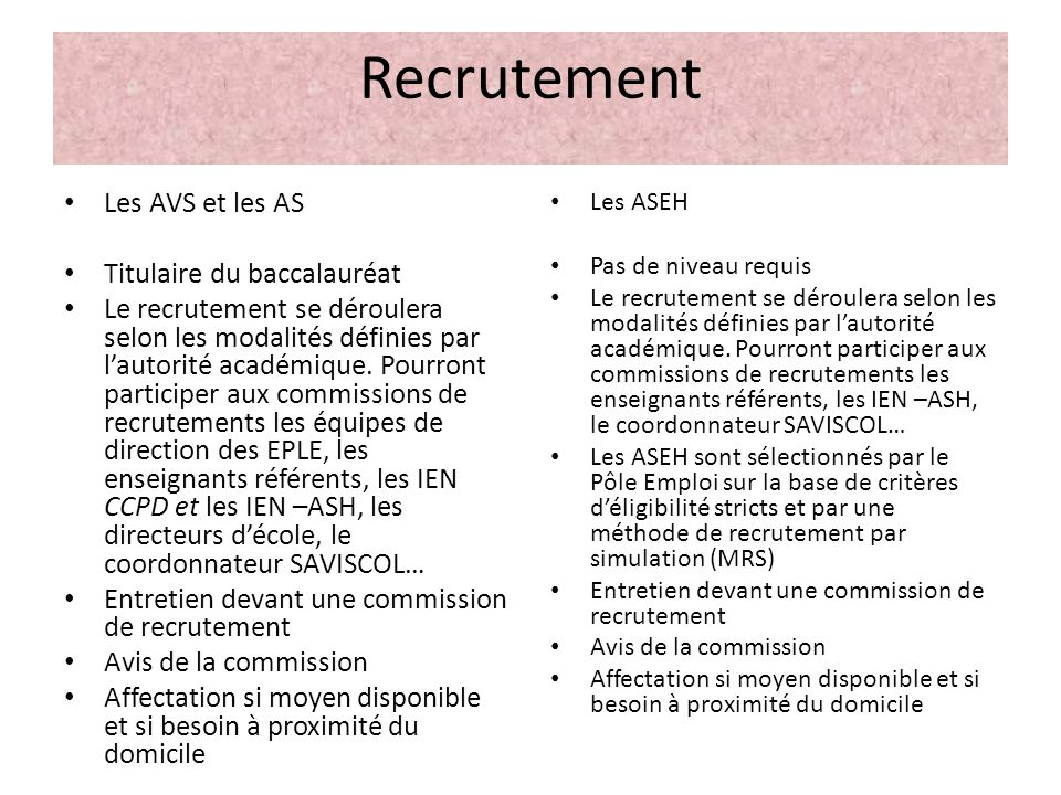 Recrutement Les AVS et les AS Titulaire du baccalauréat