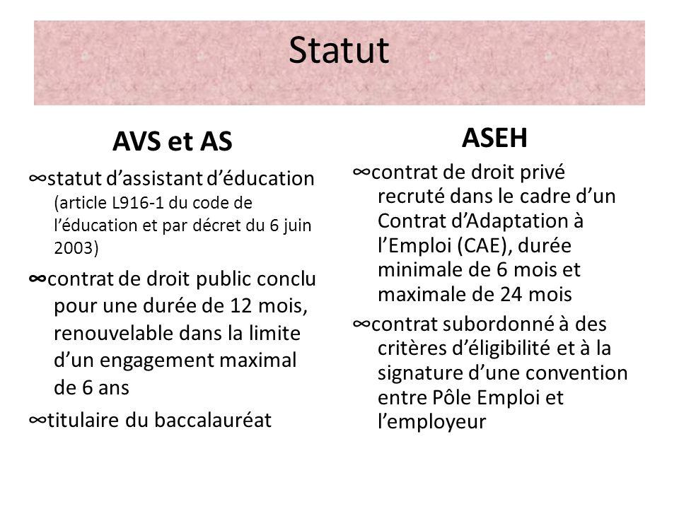 Statut AVS et AS. ∞statut d'assistant d'éducation (article L916-1 du code de l'éducation et par décret du 6 juin 2003)