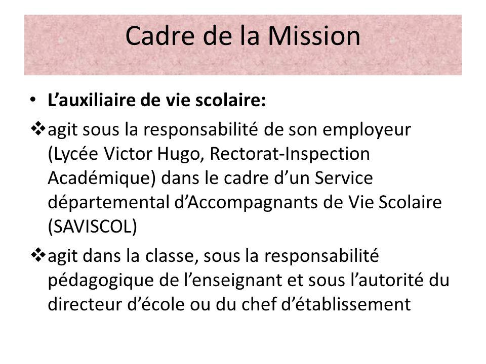 Cadre de la Mission L'auxiliaire de vie scolaire: