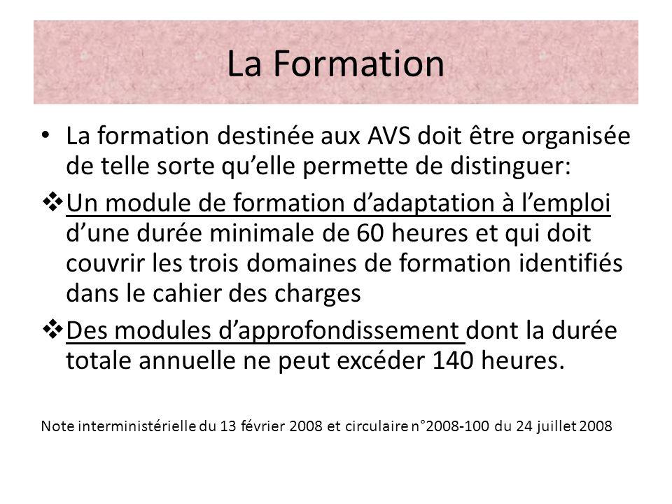 La Formation La formation destinée aux AVS doit être organisée de telle sorte qu'elle permette de distinguer: