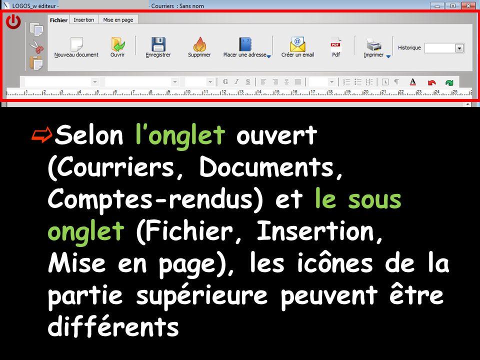 Selon l'onglet ouvert (Courriers, Documents, Comptes-rendus) et le sous onglet (Fichier, Insertion, Mise en page), les icônes de la partie supérieure peuvent être différents