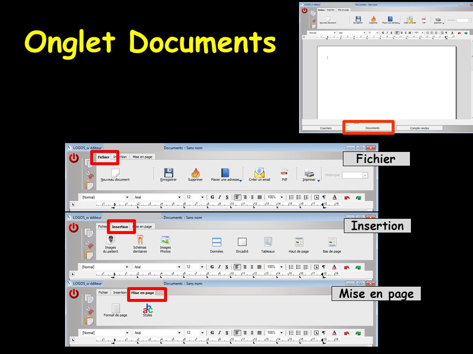 Onglet Documents Fichier Insertion Mise en page