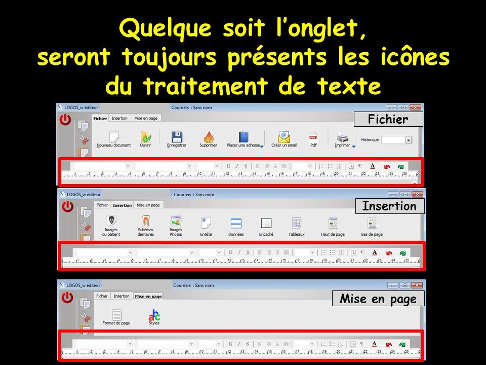 Quelque soit l'onglet, seront toujours présents les icônes du traitement de texte