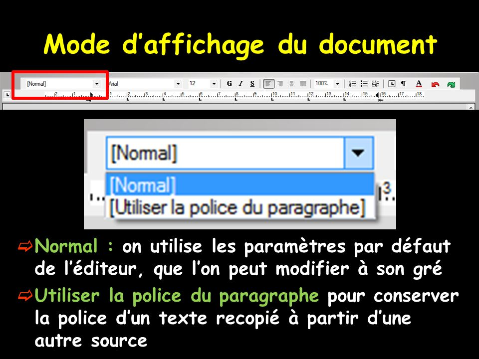 Mode d'affichage du document