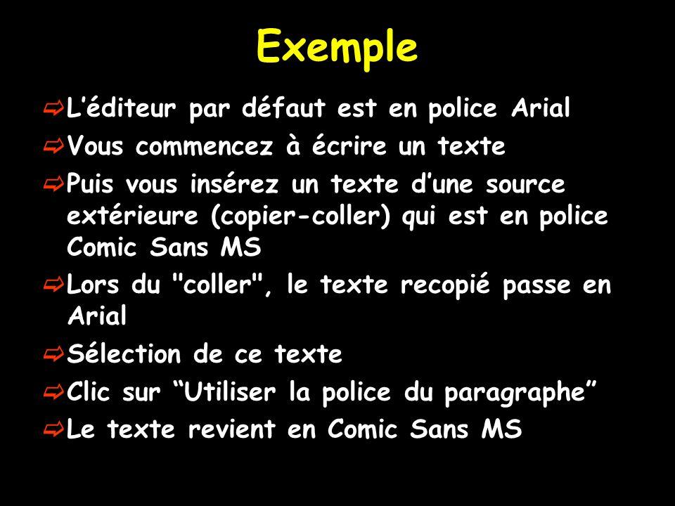 Exemple L'éditeur par défaut est en police Arial