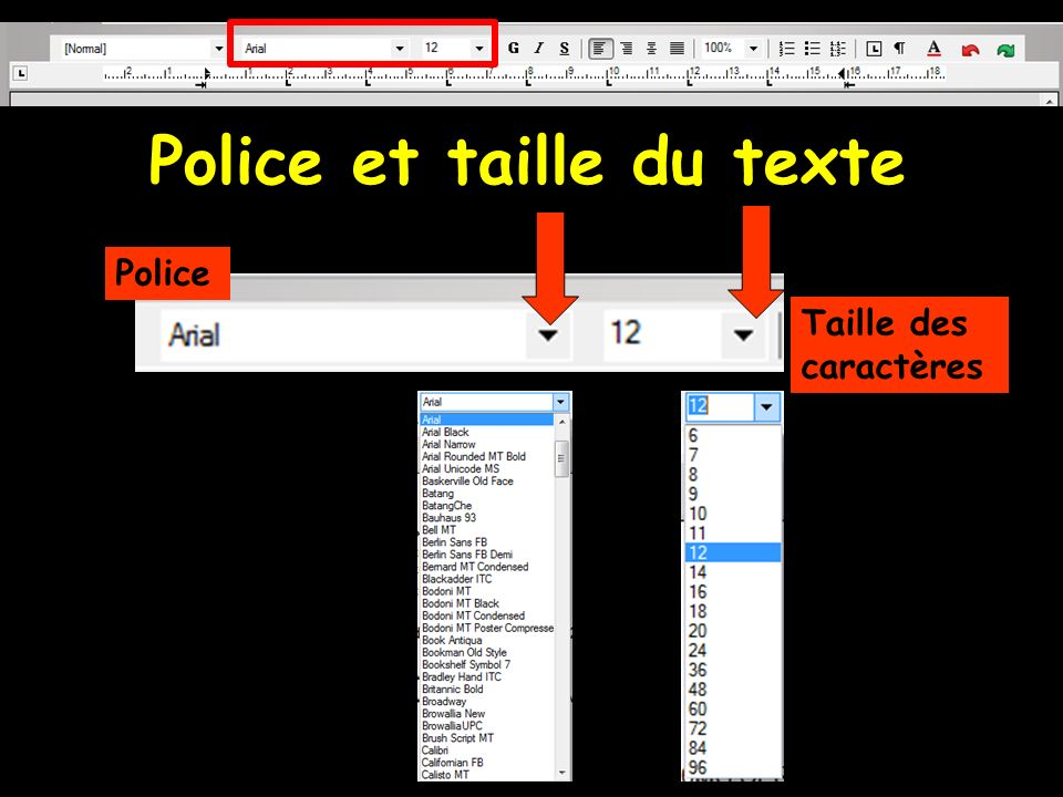 Police et taille du texte