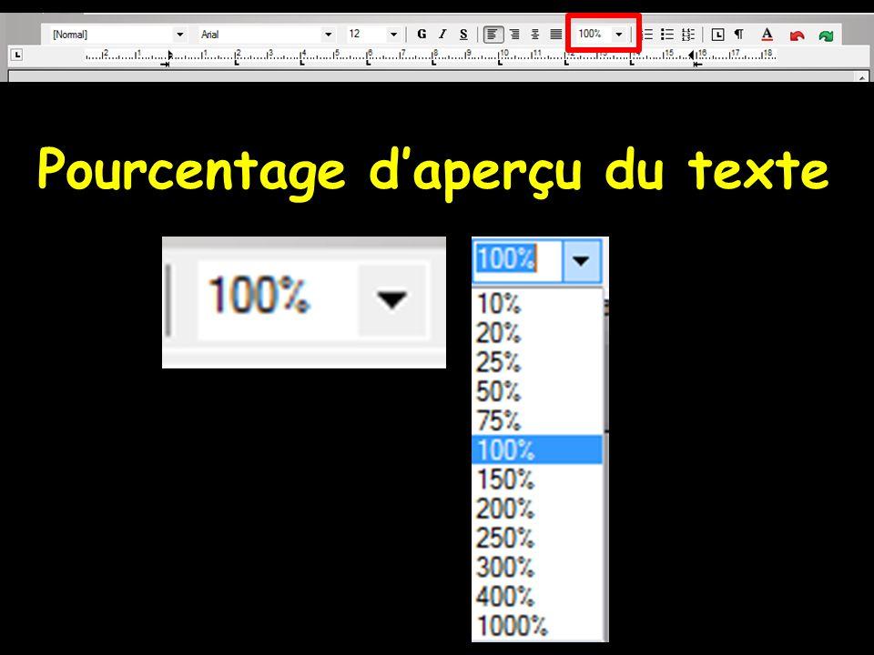 Pourcentage d'aperçu du texte