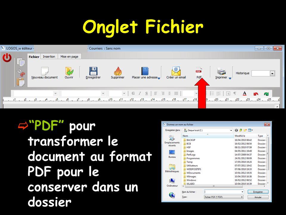 Onglet Fichier PDF pour transformer le document au format PDF pour le conserver dans un dossier