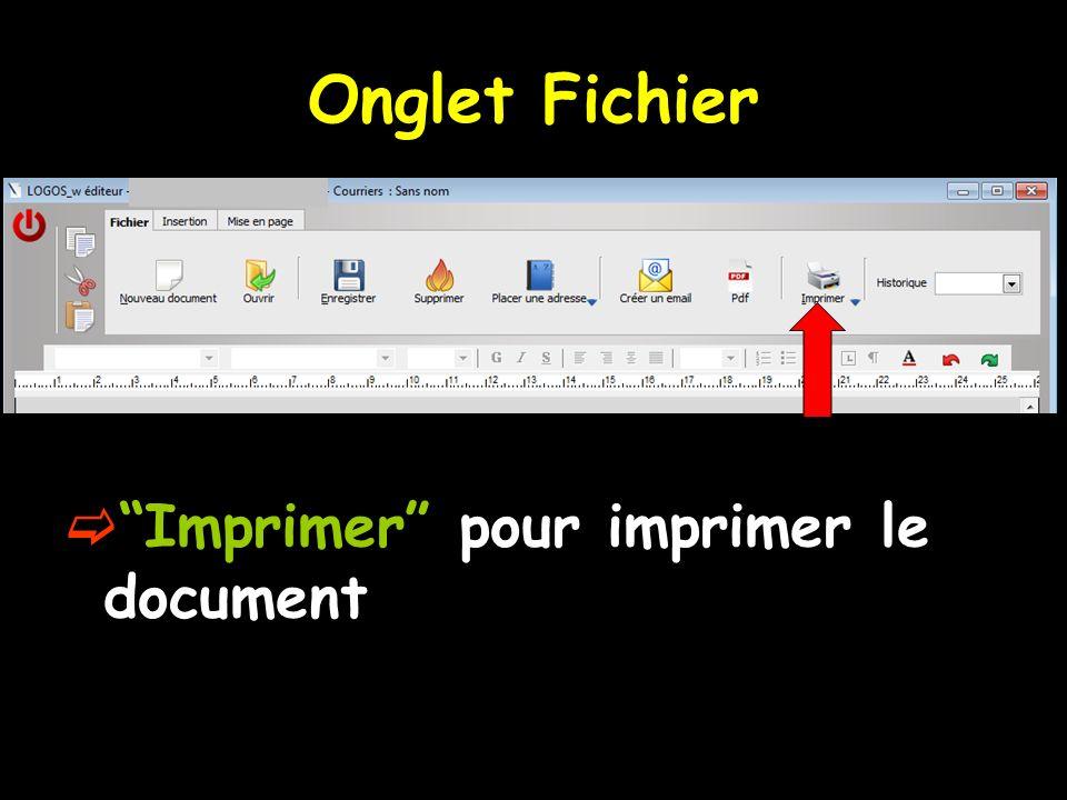 Onglet Fichier Imprimer pour imprimer le document