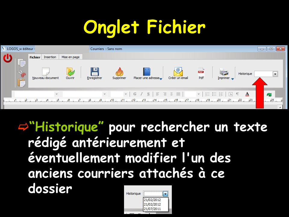Onglet Fichier