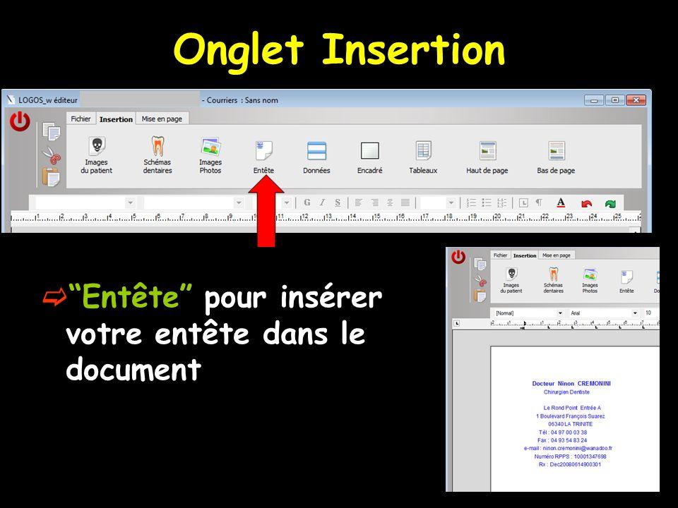 Onglet Insertion Entête pour insérer votre entête dans le document