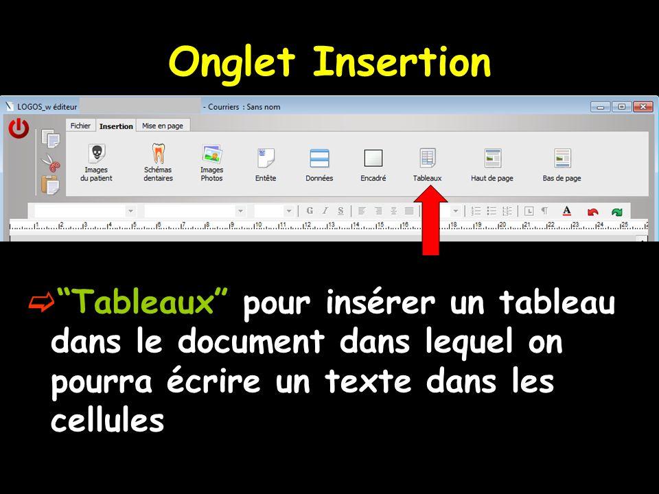 Onglet Insertion Tableaux pour insérer un tableau dans le document dans lequel on pourra écrire un texte dans les cellules.