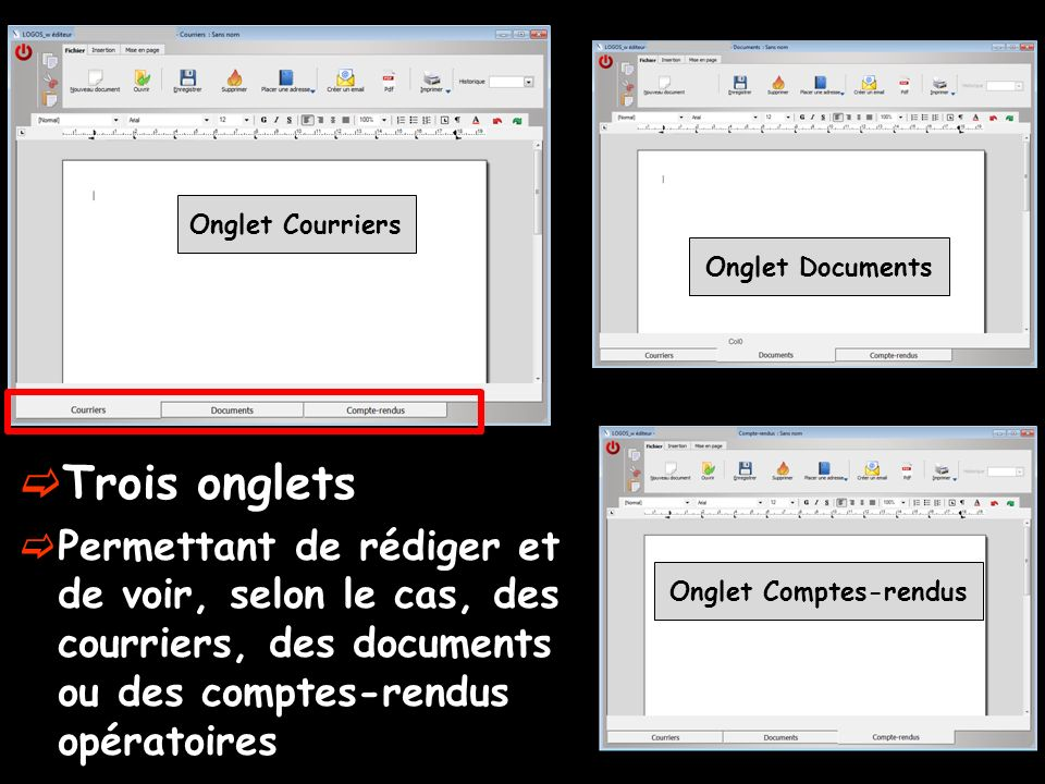 Onglet Comptes-rendus
