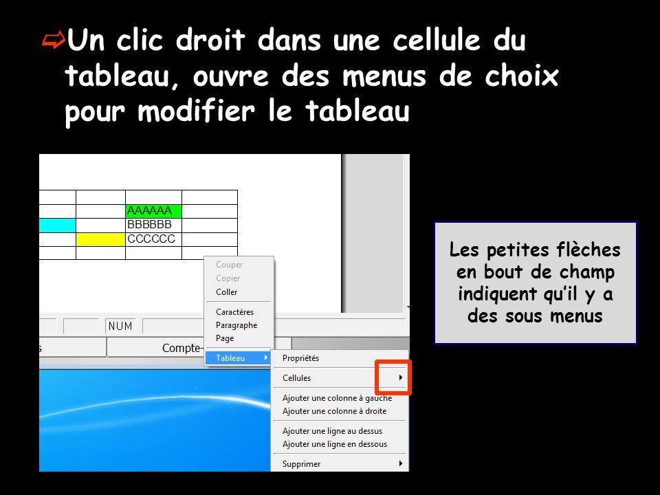 Un clic droit dans une cellule du tableau, ouvre des menus de choix pour modifier le tableau