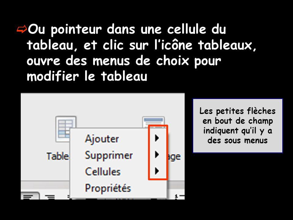 Ou pointeur dans une cellule du tableau, et clic sur l'icône tableaux, ouvre des menus de choix pour modifier le tableau