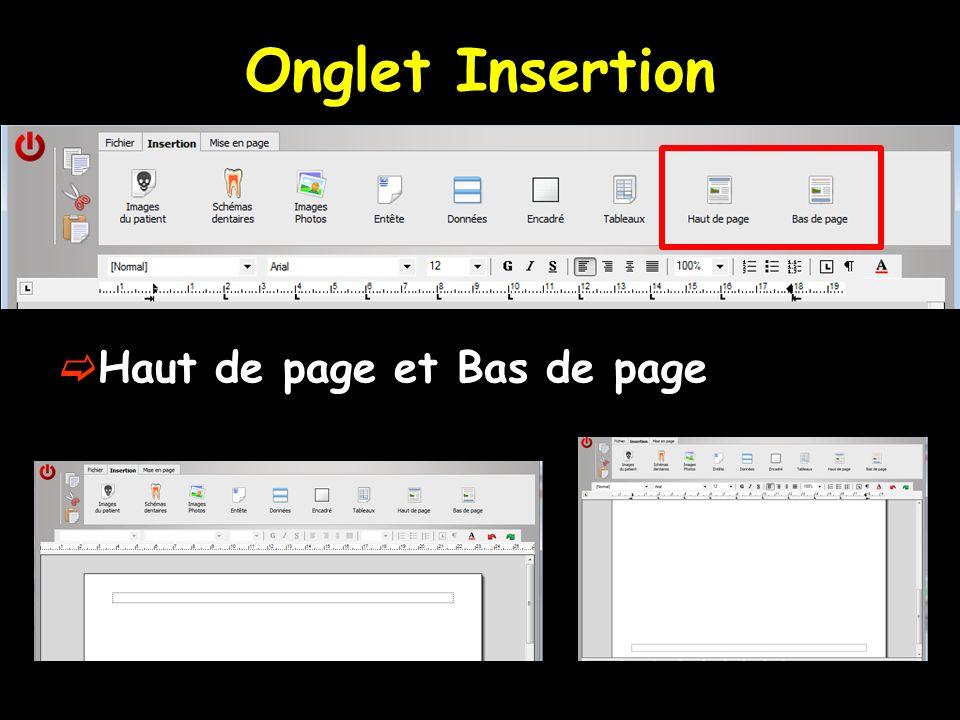 Onglet Insertion Haut de page et Bas de page