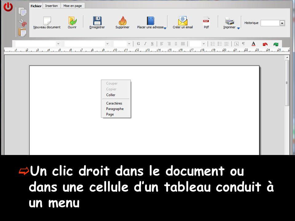Un clic droit dans le document ou dans une cellule d'un tableau conduit à un menu