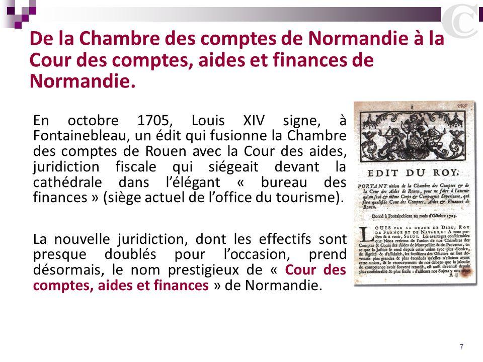 De la Chambre des comptes de Normandie à la Cour des comptes, aides et finances de Normandie.