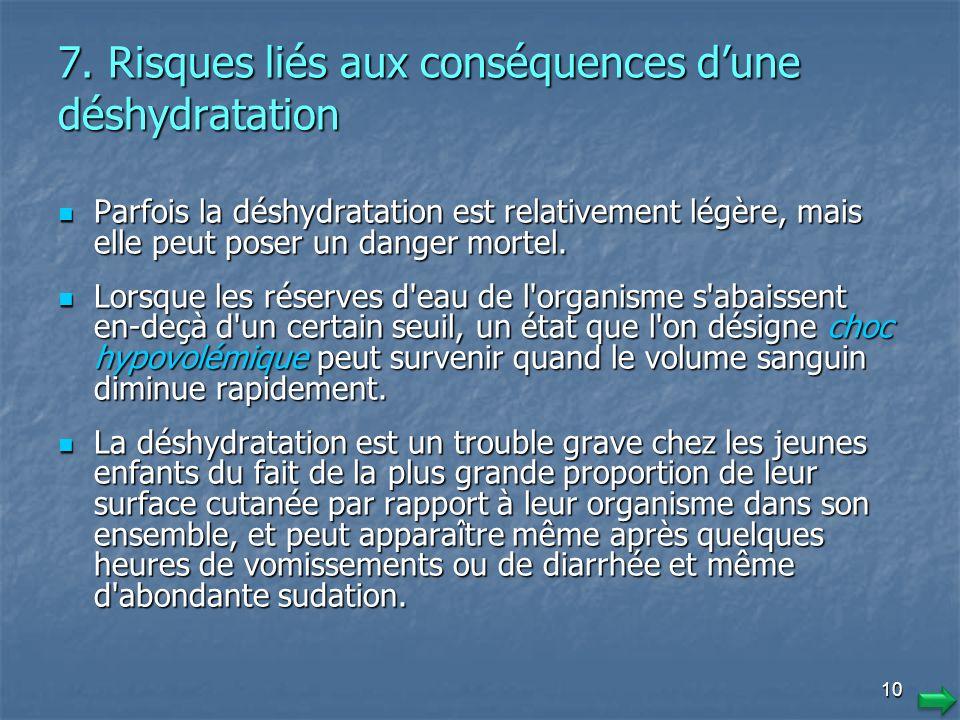 7. Risques liés aux conséquences d'une déshydratation