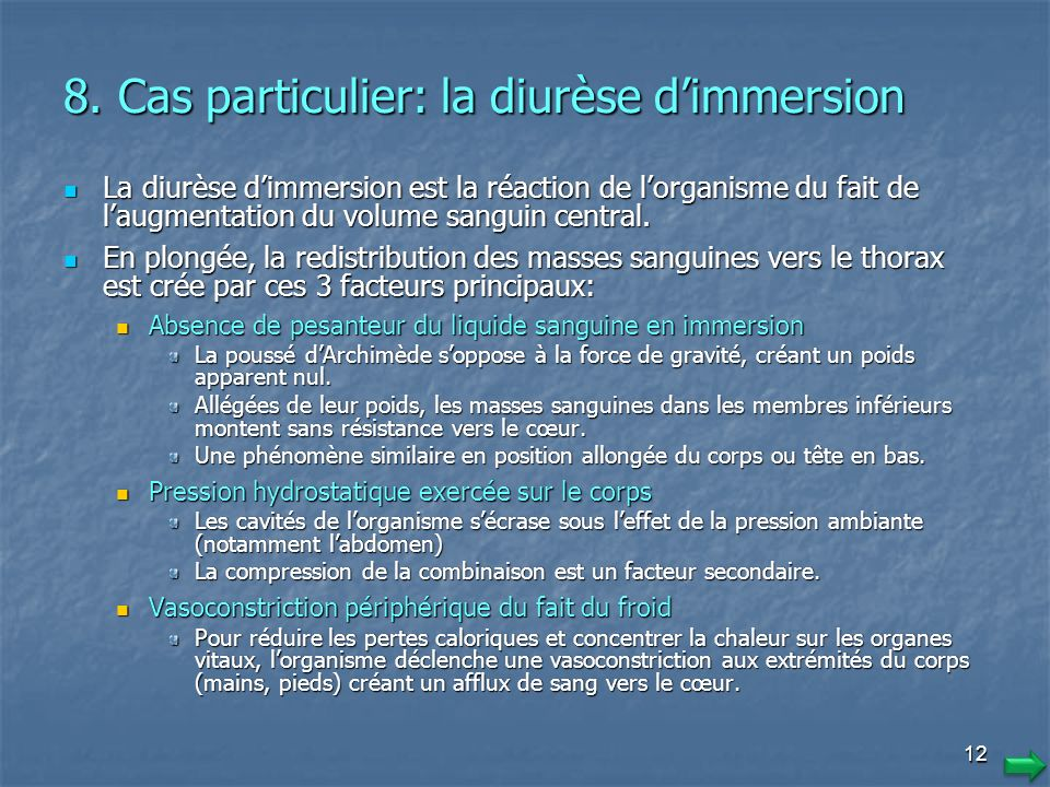 8. Cas particulier: la diurèse d'immersion