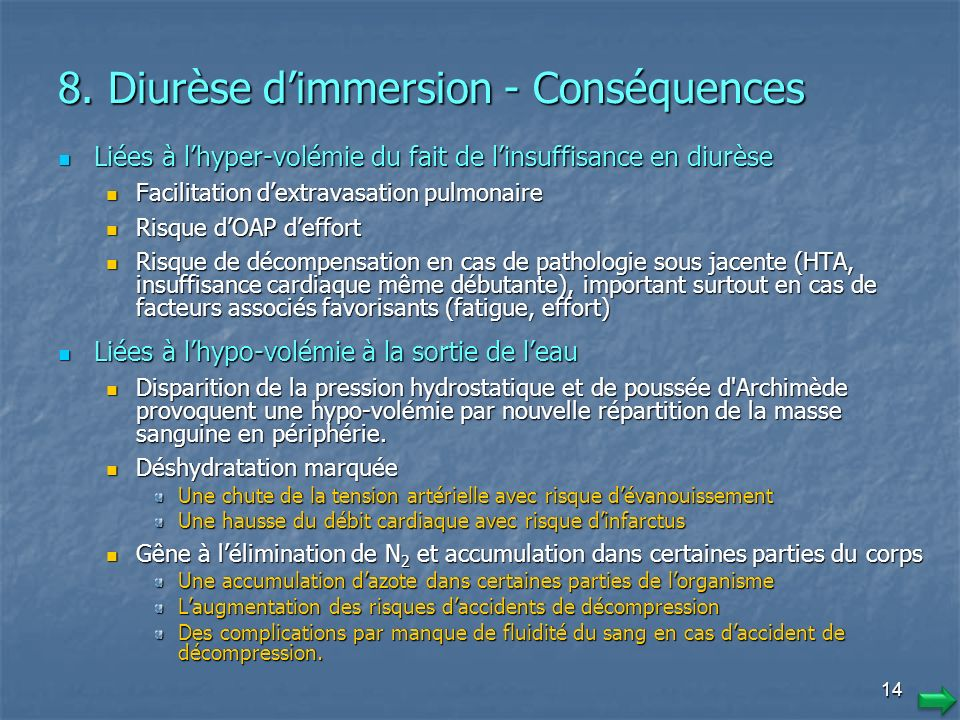 8. Diurèse d'immersion - Conséquences