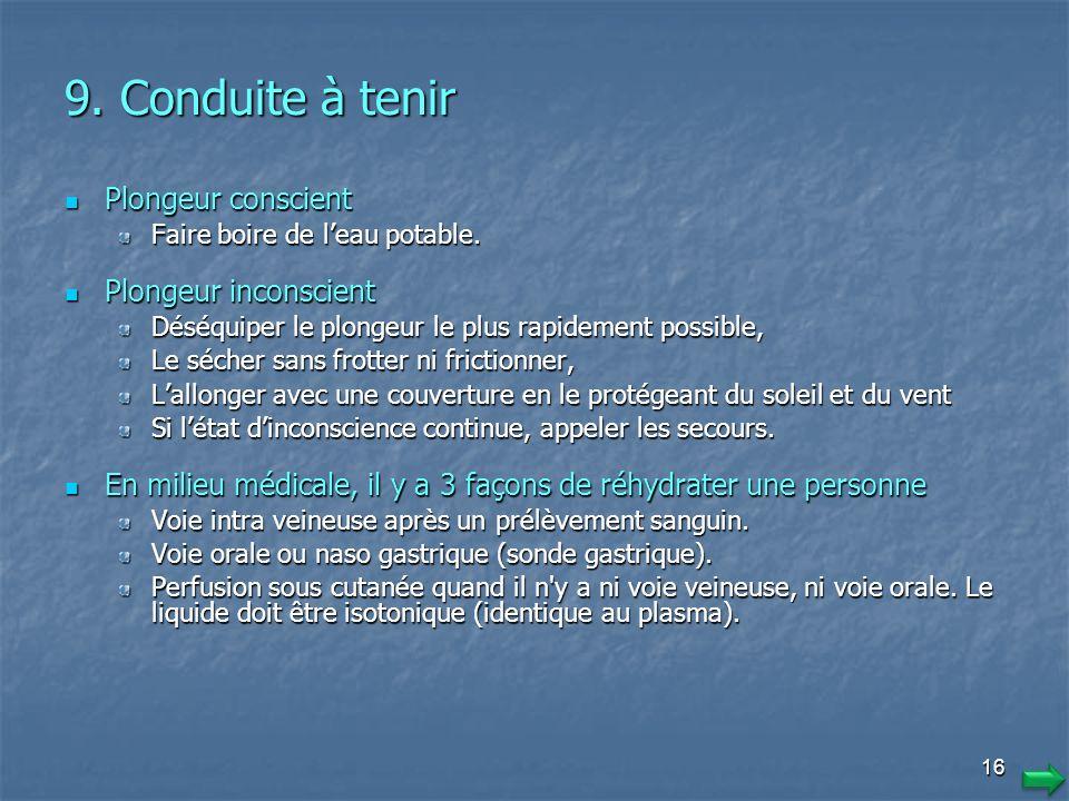 9. Conduite à tenir Plongeur conscient Plongeur inconscient