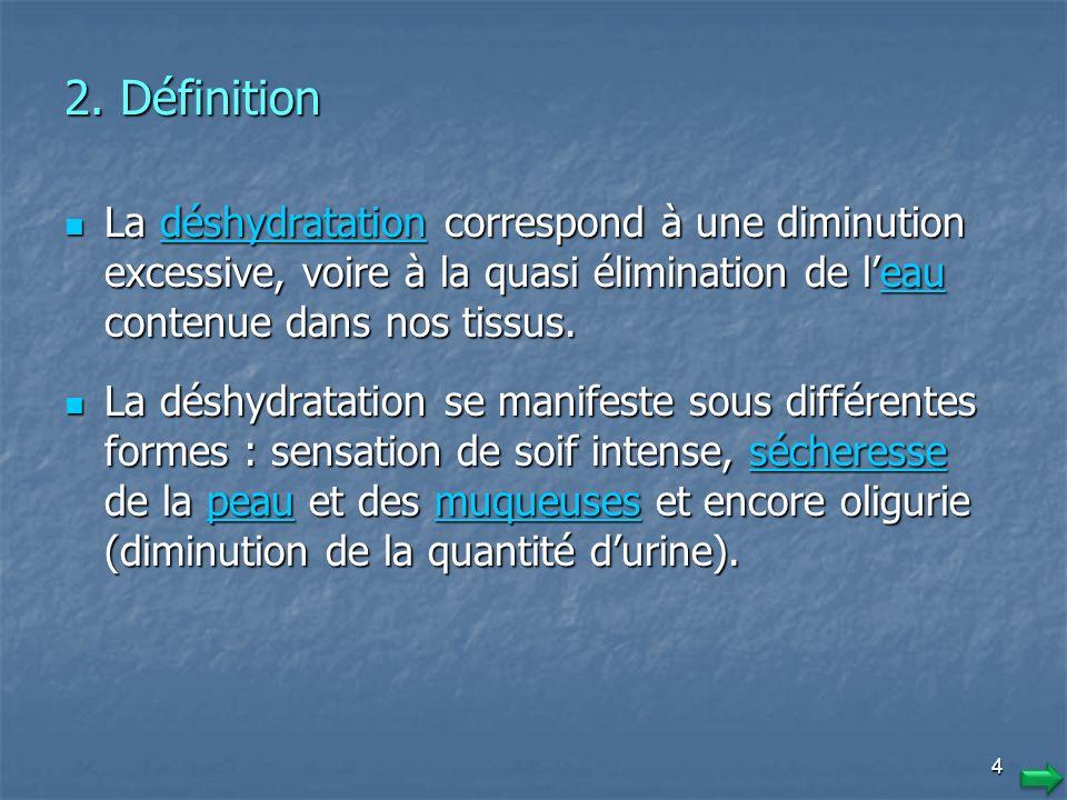 2. Définition La déshydratation correspond à une diminution excessive, voire à la quasi élimination de l'eau contenue dans nos tissus.