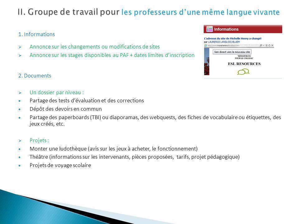 II. Groupe de travail pour les professeurs d'une même langue vivante
