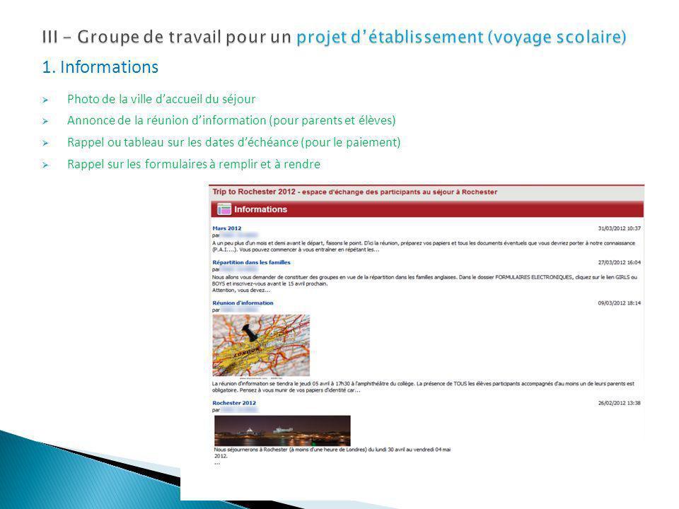 III - Groupe de travail pour un projet d'établissement (voyage scolaire)