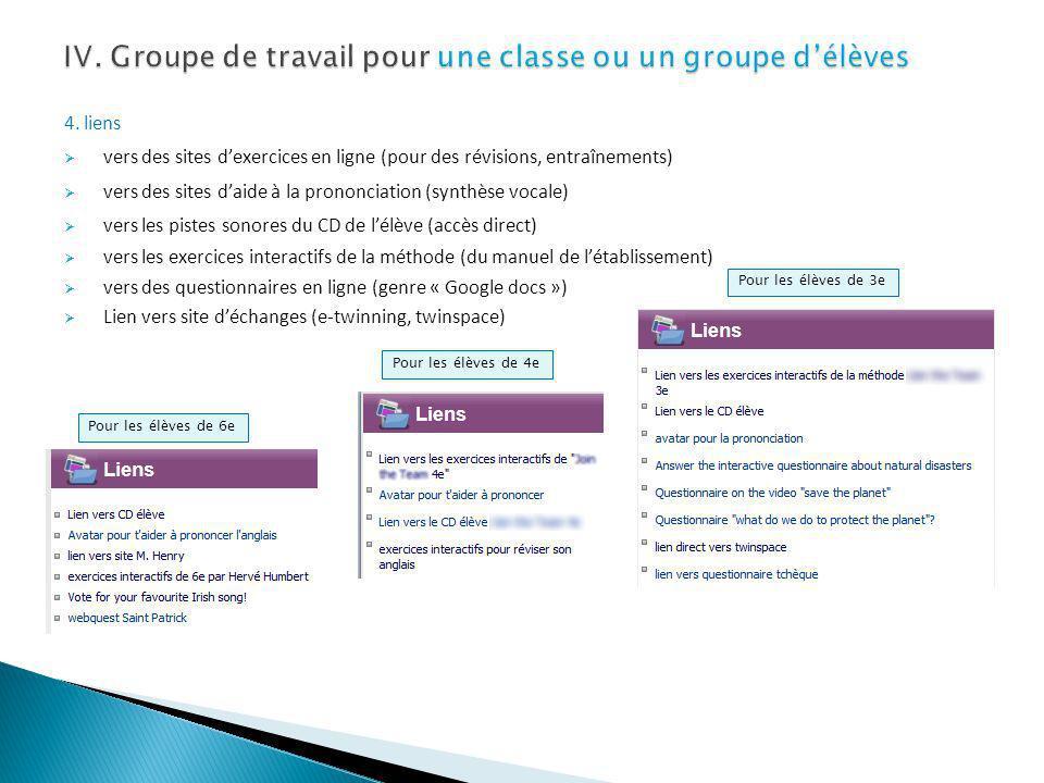 IV. Groupe de travail pour une classe ou un groupe d'élèves